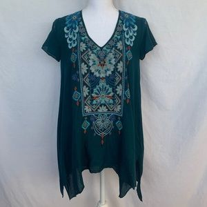 Johnny Was dark green embroidered tunic. Size XXS.